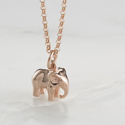 Personalised Rose Gold Elephant Necklace