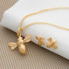 Gold Bee Jewellery Set With Stud Earrings