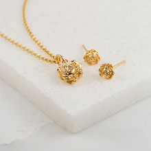 Gold Rose Jewellery Set With Stud Earrings