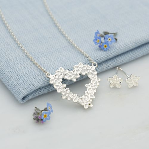 Silver Forget Me Not Jewellery Set With Stud Earrings
