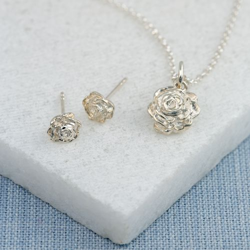 Silver Rose Jewellery Set With Stud Earrings
