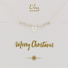 Silver Stag Necklace with 'Merry Christmas' Message