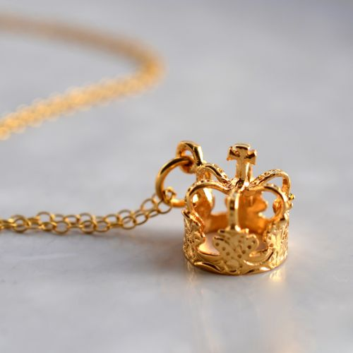 Personalised Gold Crown Necklace