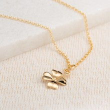 Personalised Gold Four Leaf Clover Necklace
