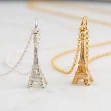 Personalised Gold Eiffel Tower Necklace
