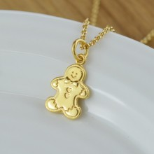 Gold Gingerbread Man Necklace