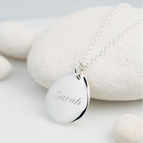 Personalised Necklace: Engraved Silver Pebble (Medium)