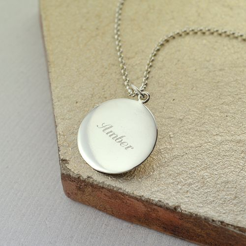 Personalised Necklace: Engraved Silver Disc