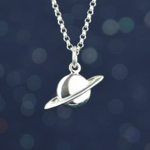 Silver Planet Charm Necklace