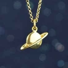 Gold Planet Charm Necklace