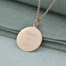 Personalised Necklace: Engraved Rose Gold Disc