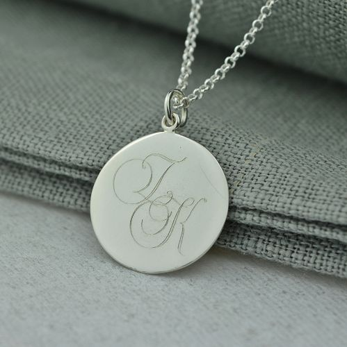 Silver Disc Monogrammed Necklace