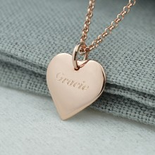 Personalised Necklace: Engraved Rose Gold Heart (Medium)