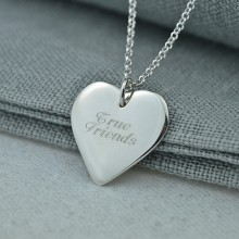 Personalised Necklace: Engraved Silver Heart (Large)