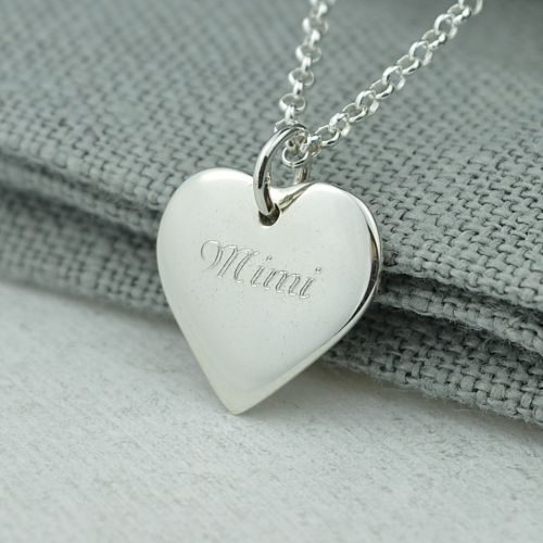 Personalised Necklace: Engraved Silver Heart (Medium)