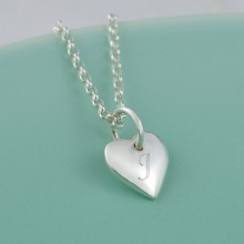 Personalised Necklace: Engraved Silver Heart (Small)