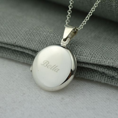 Personalised Necklace: Engraved Silver Round Locket