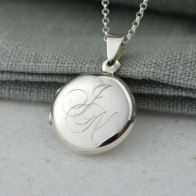 Personalised Necklace: Silver Circle Monogrammed Locket