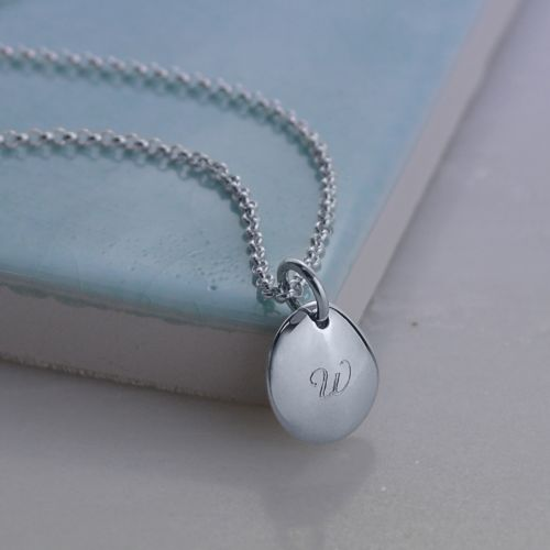 Personalised Necklace: Engraved Silver Pebble (Small)