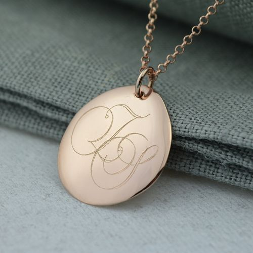 Rose Gold Pebble Monogrammed Necklace (Large)