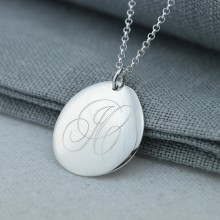 Silver Pebble Monogrammed Necklace (Large)