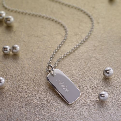 Engraved Necklace: Silver Tag (Small)