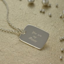 Engraved Necklace: Silver Tag (Medium)