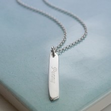 Engraved Necklace: Silver Bar (Medium)