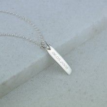 Engraved Necklace: Silver Bar (Small)