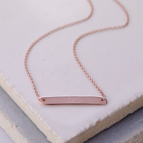 Engraved Necklace: Horizontal Bar Necklace in Rose Gold
