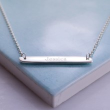 Engraved Necklace: Horizontal Bar Necklace in Sterling Silver